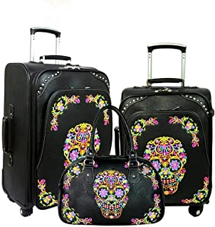 Montana West Western Sugar Skull Embroidered Collection 3 PC Luggage Set/Duffle Bag for Outdoor Sports Gym and Travel Blac...