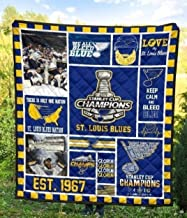 All Season Comfortable Quilt for Thanksgiving Christmas St Louis Blues Champions Fan Gift Patterned Quilt King Queen Twin Throw Size