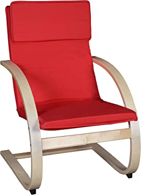 "Niche Mia Bentwood Reclining Lounge Chair, 26.5""W x 28""L x 39.5""H, Natural/Red"
