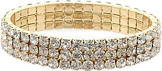 Wedding Bracelet Gold Crystal Rhinestone 3 Row Stretch Bracelet