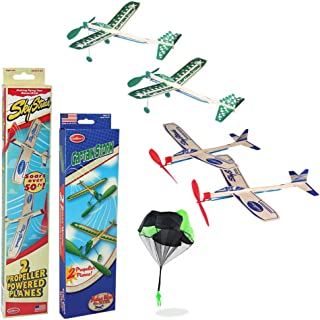 Balsa Wood Airplane Glider and Parachute Man Rubber Band Powered Sky Streak and Captain Storm Twin Packs 5 Piece Set
