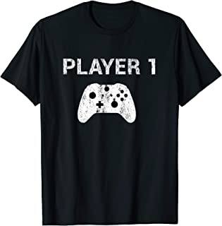 Player 1 Shirt Video Game Costume Gamer Tee Men Women Kids