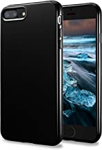 TENOC Phone Case Compatible for Apple iPhone 8 Plus and iPhone 7 Plus 5.5 Inch, Slim Fit Cases Soft TPU Bumper Protective Cover, Glossy Black