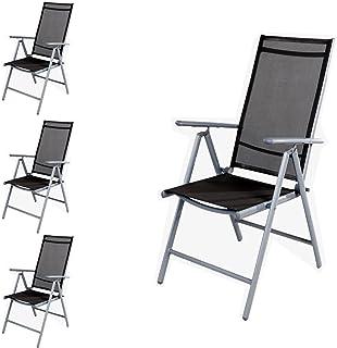 4Sillas Jardín–Respaldo alto 7posiciones–Posición–Silla plegable–plegable–Resistente a la intemperie–Muebles de Jardín de aluminio–plata/antracita