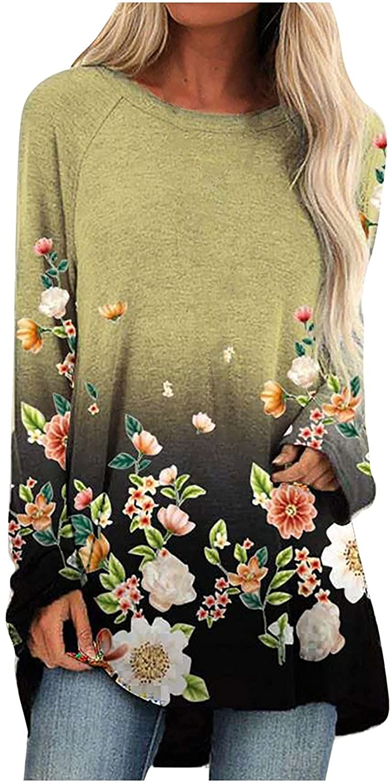 Women Floral Print Hem T-Shirts Chic Loose Long Sleeve Tee Tops Autumn Soft Comfy T-Shirt