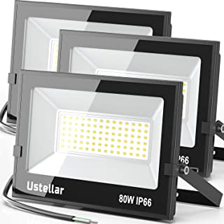 Ustellar 3 Pack 80W Led Flood Lights Outdoor Bright 24000LM Security Lights Outside Lamp IP66 Waterproof 5000K Daylight Wh...