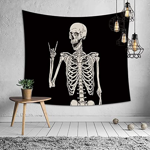 RiamxwR Halloween Skull Tapestry Skeleton Blanket Wall Hanging Black Tapestries for Living Room Bedroom Decor 51x59 Inches (Style D)