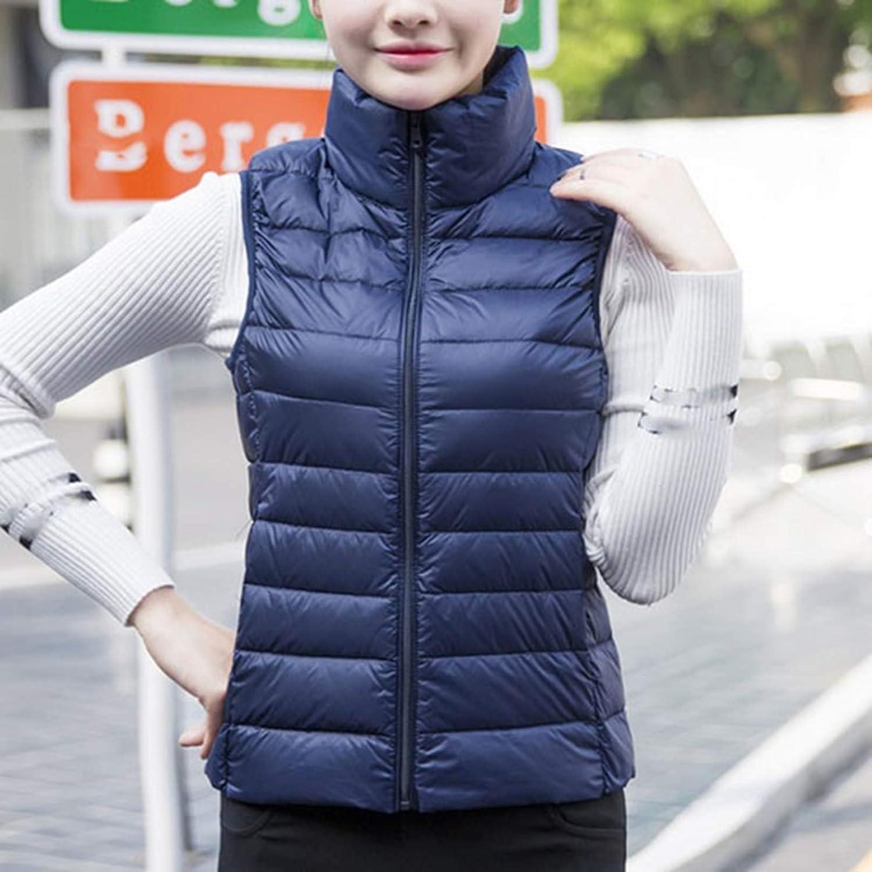 Qianliuk Gilet da Donna in Piumino Gilet Ultraleggero Gilet Casual da Esterno in Tinta Unita Cappotto Corto Senza Maniche Autunno Inverno