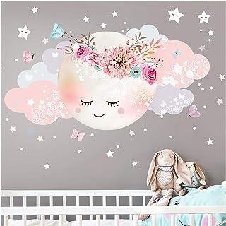 Little Deco DL243 Sticker mural décoratif pour chambre d'enfant Motif lune et nuages II