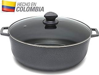IMUSA USA GAU-86626T Colombian Nonstick Caldero with Porcelain Hammered Finish 4.8-Quart, Dark Gray