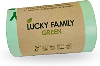 Lucky Family Green Compost Bags for Kitchen Countertop Bin 1.3 up to 1.6 Gallon - 100% Compostable Food Waste Trash Repurp...