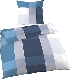 Träumschön Biber Bettwäsche 135x200 2tlg   Bettwäsche Weiß Petrol Karo Design   Winterbettwäsche 135x200 100% Baumwolle   Kuscheliger Bettbezug