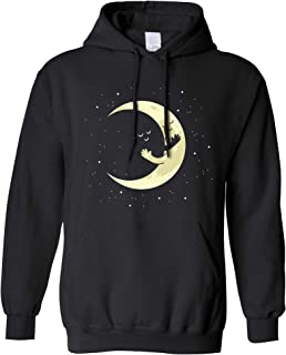 Cute Moon Hoodie Hugging Night Sky Cartoon Hooded Jumper