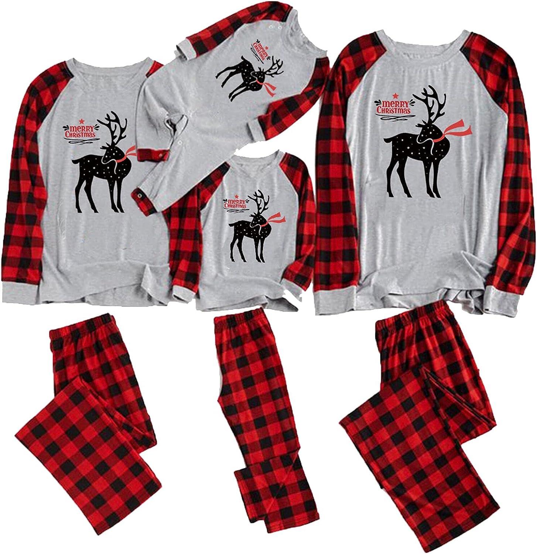 LZEDIRA Matching Family Christmas Pajamas Set Xmas Printed PJS Long Sleeve Tee with Deer Plaid Pants Sleepwear
