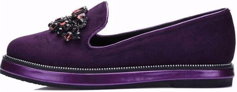 Reedbler Women Flats Loafers Rhinestone Flat shoes Women Slip On shoes for Women Suede Leather XWA0301-5