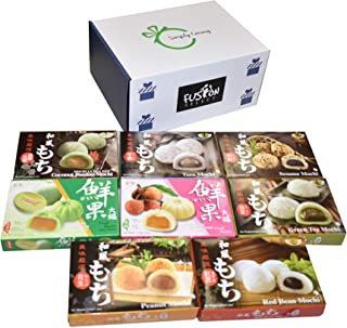 Japanese Mochi 8 Variety Pack: Coconut Pandan, Taro, Sesame, Hamimelon, Lychee, Green Tea, Peanut & Red Bean in Fusion Sel...