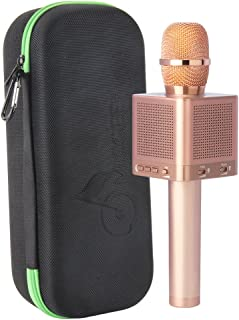 MICGEEK Q10S丨Wireless Bluetooth Karaoke Microphone,4-in-1 Speakers,Super Li-ion Battery,Play/Sing/Record Modes,Best Mini Portable Home Music Machine for Iphone/Ipad/Android/Tablet/Car(Rose Gold)
