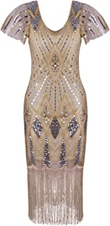 Vijiv Women's 1920s Gatsby Inspired Sequin Beads Long Fringe Flapper Dress with Sleeves