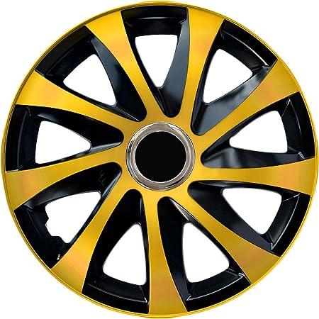 Autoteppich Stylers Größe Wählbar 14 Zoll Radkappen Radzierblenden Draco Bicolor Schwarz Gold Passend Für Fast Alle Fahrzeugtypen Universal Auto