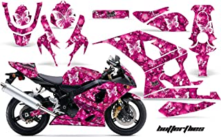 AMR Racing Motorcycle Graphics kit Sticker Decal Compatible with Suzuki GSXR 600/750 2004-2005 - Butterfly Pink
