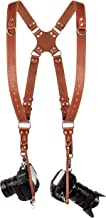 Camera Strap Accessories for Two-Cameras – Dual Shoulder Leather Harness – Multi Camera Gear for DSLR/SLR Orange