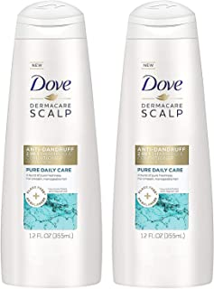 Dove Dermacare Scalp Haircare - Anti-Dandruff 2 in 1 Shampoo & Conditioner - Pure Daily Care - Net Wt. 12 FL OZ (355 mL) Per Bottle - Pack of 2 Bottles
