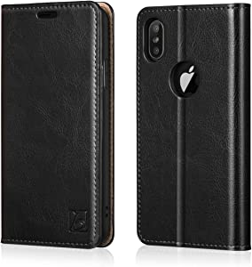 Belemay iPhone X Wallet Case, iPhone 10 Case, Cowhide Genuine Leather Folio [RFID Blocking] Card Holder, Kickstand Cash Pocket Classic Book Style Protective Flip Cover Slim Fit for iPhone X/10, Black