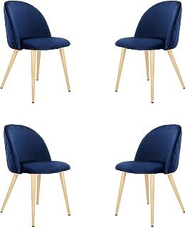 Lot de 4 chaises de salle à manger modernes et ergonomiques en velours avec pieds en métal pour cuisine, salon, maison, af...