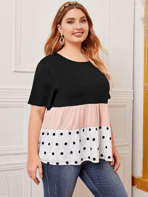 Romwe Womens Plus Size Casual Short Sleeve Colorblock Polka Dots Ruffle Peplum Tops Shirts