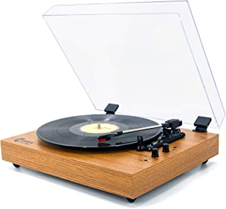 VMO Retro Record Player for 33/45/78 RPM Vinyl Records,Bluetooth Belt-Drive Turntable with Built-in Hi-Fi Stereo Speakers,Yellow