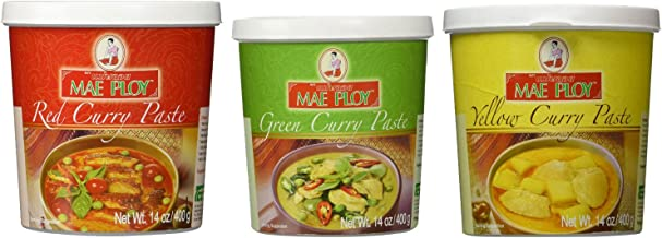 Mae Ploy Red Curry Paste, Green Curry Paste and Yellow Curry Paste Set. Great Cooking gifts
