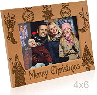 Kate Posh - Vintage Merry Christmas Picture Frame - Peace, Joy, Love, Believe, Faith Engraved Natural Wood Photo Frame - Christmas Gifts for Family, Grandparents, Friends, Parents (4x6-Horizontal)