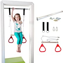 DreamGYM Indoor Swing - Trapeze Bar and Gymnastic Rings Combo for Doorway Gym - Red