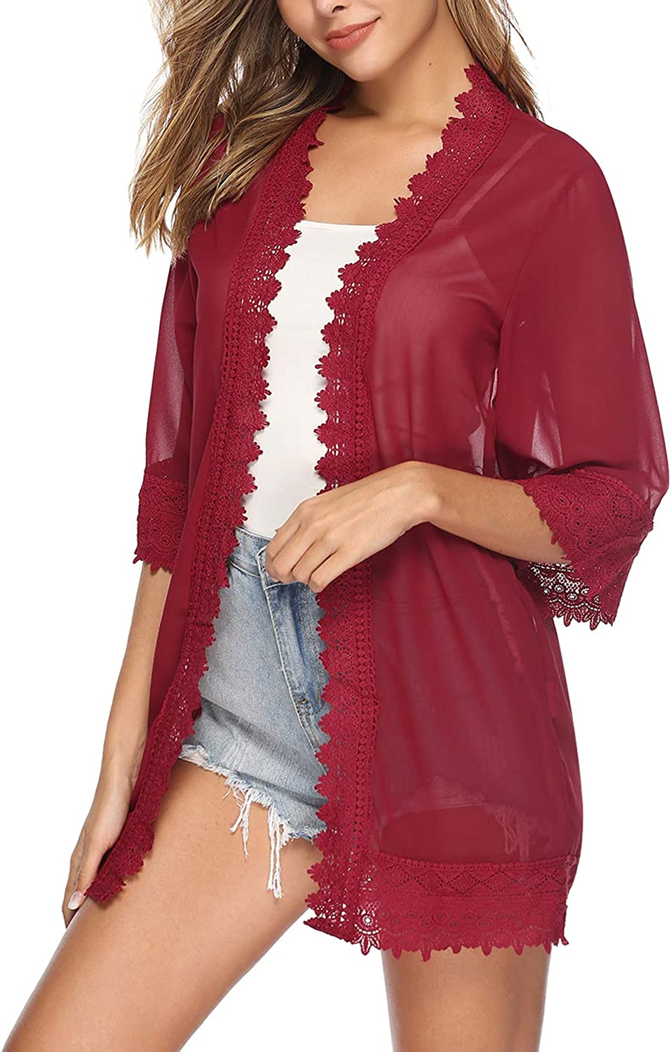 Hawiton Womens 3//4 Sleeve Chiffon Lace Kimono Cardigans Cover Up Casual Blouse Tops