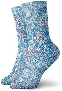 tyui7, Patrón de Paisley Calcetines de compresión antideslizantes azules y rosados Cosy Athletic 30cm Crew Calcetines para hombres, mujeres, niños