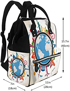 Diaper Bags Backpack Earth Globe Surrounded by Colorful Famous Landmarks and Means Transport Large Capacity Muti-Function Travel Backpack