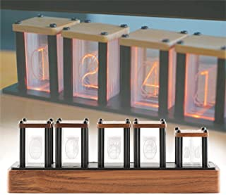 Retro Nixie Clock Led、Walnut Rgb Digital Tube Clock Creativity、Glow Tube Clock Living Room Sitting Clock、Gift for Husband、...