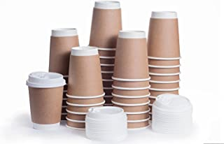Disposable Coffee Cups with Snap Lids in Bulk, Double Walled Thermal Insulation Paper Travel Cup with Cover for Hot Beverages like Tea, Cocoa by Plastible (100 Pack - 12 Ounce)