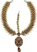ZIKU JEWELRY Yellow Kundan Work Silver Pearl Beaded Gold Plated Indian Matha Patti Fashion Jewelry