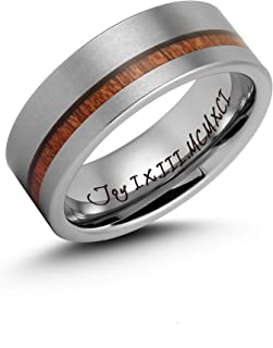 Ulan Moron Men`s Silver Tungsten Carbide Ring 8mm Wood Outside Matte Brushed with Wooden Texture Inlay Free Personalized Engrave Custom Name Date Comfort Fit Wedding Band