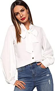 Women's Solid Lantern Long Sleeve Shirt Tie Front Button Down Blouses Top