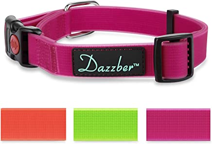 "Dazzber Waterproof Dog Collar Large, Neck 17""-27"", Quick Release Collars for Dogs, Perfect for Hot Summer and Cold Winter"