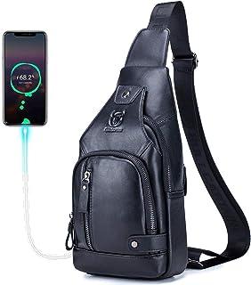 BULLCAPTAIN Men Sling Crossbody Bag with USB Charging Port Genuine Leather Shoulder Chest Bag Travel Hiking Backpack (Black)