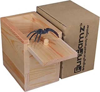 FunFamz The Original Spider Prank Box- Funny Wooden Box Toy Prank, Hilarious Christmas..
