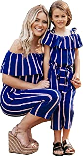 doublebabyjoy Family Matching Striped Jumpsuit Mommy&Me Off Shoulder Long Sleeve Long Pants Romper with Belt