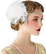 SWEETV Flapper Stirnbänder 1920er Jahre Frauen Pfau Stirnband Great Gatsby inspiriert Crystal Stirnband für Braut Feder Stirnband