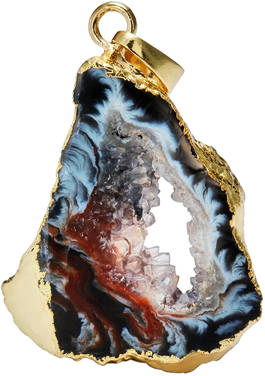 Agate Druzy Faceted Bead 3315 Druzy Agate Pendant 41mm x 56mm Natural Agate Slab Bead Pendant Full Strand