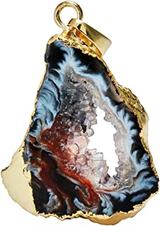 SUNYIK Irregualr Natural Agate Quartz Geode Druzy Pendant Necklaces for Women,Healing Crystal