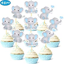 Faisichocalato 48pcs Blue Elephant Cupcake Toppers It is A Boy Baby Shower Cupcake Picks Decoration Baby Boy Birthday Part...