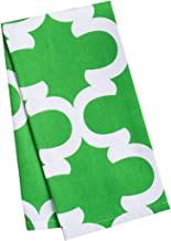 LinenTablecloth Green and White Trellis Kitchen Towels, 2-Pack